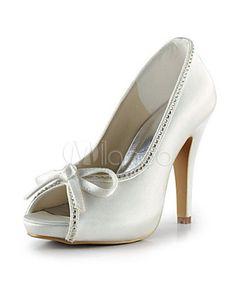 Ivory Platform Peep Toe Bow Satin Bridal Wedding Shoes - Milanoo.com