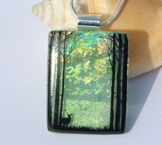 Dichroic Glass Pendant  Fused Glass Jewelry  by TremoughGlass