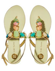 River Island Pastel Gem T Bar Flat Sandals