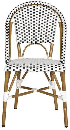 Set of Two Riviera Indoor/Outdoor Stacking Side Chairs in Black and White - OUT OF STOCK