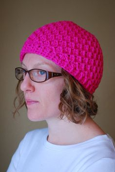 Crochet Adult Winter Beanie Organic Cotton Vegan by yomamaorganics #etsy #etsyseller #crochet #winter #beanie #organic #cotton #vegan #pink #handmade #valentinesday
