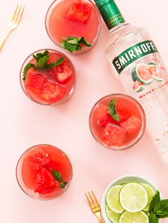 Watermelon vodka with fresh watermelon, mint and lime? Yes, please! Can't wait to try this punch recipe this summer.