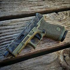 WEBSTA @ jagerwerks - Check this out!! #Repost @stebolicious・・・The dream Glock build is complete! Outstanding work by everyone involved:@jagerwerks : Breacher cut, slide chamfers w/ serrations, top pocket and JW OD Camo cerakote.@gnptactical : Krueger EDC stippling w/ double undercut trigger guard. @s3fsolutions : match grade threaded/fluted barrel@agencyarms : drop-in flat-faced trigger@trijicon : HD Night sights. #glock19gen4 #battlefieldgreenglock #jagerwerks #gnptactical #polymerbadass…