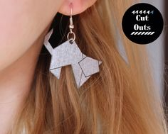 origami cat earrings by CutOutsProductDesign on Etsy Origami Cat, Laser Cut Jewelry, Laser Cutting, Drop Earrings, Jewellery, Creative, Handmade, Etsy, Vintage
