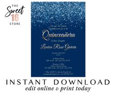 Quinceanera invite, Quinceanera Invitations, Editable Printable Digital invitation, Mis quince anos 15th birthday, Navy Blue Gold, Glitter Text Message Invitations, Digital Invitations, Louisa Rose, Edit Online, Quinceanera Invitations, 15th Birthday, Text Messages, Marketing And Advertising, Rsvp