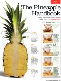 How to cut a pineapple. Step by step instructions about pineapples
