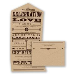 Kraft Typography Wedding Invitation - Seal and Send #Typography #WeddingInvitations #DavidsBridal http://www.invitationsbydavidsbridal.com/Wedding-Invitations/Typography-Invitations/2947-DB32592-Bold-Love--Neon-Fuchsia--Seal-and-Send-Invitation.pro?&sSource=Pinterest&kw=Typography_DB32592