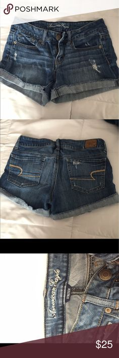 American Eagle Distressed Denim Shorts AE Distressed  Denim Shorts. Stretch. Worn once! American Eagle Outfitters Shorts Jean Shorts