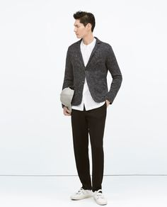 ZARA - COLLECTION SS15 - KNIT JACKET WITH CONTRAST COLLAR