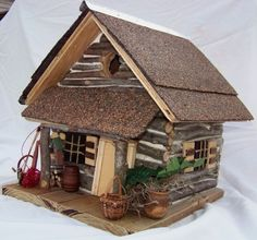 Log Home Bird Houses | Ye Olde Log Cabin Bird House