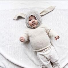 Oeuf NYC bunny hat via https://instagram.com/p/0VDopprMOs/?taken-by=oeufnyc #babywear #babyclothes #babyinspiration #modernbaby