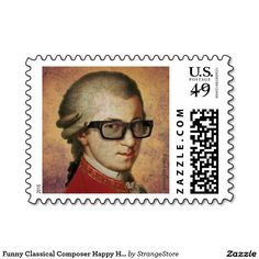 Shop Funny Classical Composer Happy Hipster Mozart Postage created by StrangeStore. Geek Gifts, Cat Gifts, Hipster Gifts, Funny Owls, Robots For Kids, Little Dogs, Postage Stamps, Online Art, Funny Tshirts