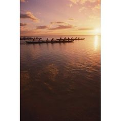 Hawaii Outrigger Canoe And Paddlers Silhouetted Pink Sunset And Ocean Reflections Canvas Art - Dana Edmunds Design Pics (12 x 19)
