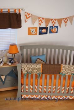 Orange Chevron baby bedding with Brown Houndstooth and geometric fabrics