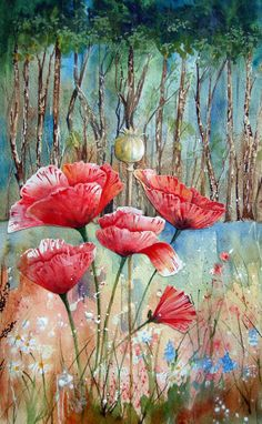 Watercolour Florals: Poppies Collage