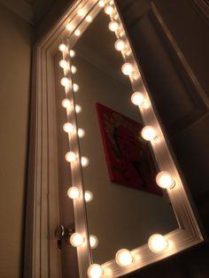 https://flic.kr/p/qNWDPy | 4 Feet Long White Mirror (G40) White Satin Bulbs | WoodUBeMine Mirror Shop