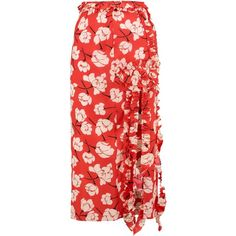 ROCHAS  Ruffled floral-print silk midi skirt (41140 RSD) ❤ liked on Polyvore featuring skirts, red skirt, red ruffle skirt, ruffle midi skirt, pastel skirts and floral knee length skirt