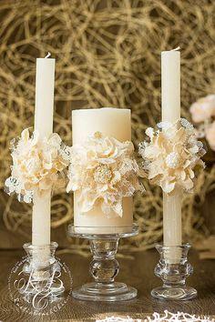 Velas de la unidad de marfil de la boda, flor hecha a mano, ideas boda rústico, velas de Pilar la boda, país, granero boda, cosecha vela set 3pcs