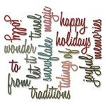 Sizzix - Tim Holtz - Alterations Collection - Christmas - Thinlits Die - Holiday Words 2 - Script