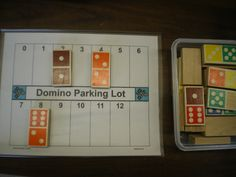 Domino Parking Lot Math: students 'park' their dominoes in the parking spaces that have the same sum as their domino.