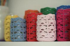 @ handmade & home - Crochet Jar Cosies  - free pattern here:  http://www.handmadeandhome.com.au/crochet/crochet-jar-cosy-free-pattern/