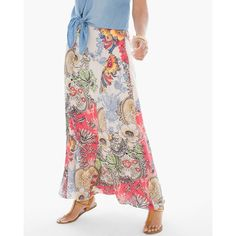Chico's Patchwork Floral Maxi Skirt ($129) ❤ liked on Polyvore featuring skirts, pink combo, floral maxi skirt, floral print skirt, white maxi skirt, petite skirts and pink skirt