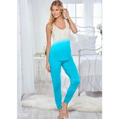 Venus Women's Ombre Henley Pajama Set ($27) ❤ liked on Polyvore featuring intimates, sleepwear, pajamas, blue and blue pajamas