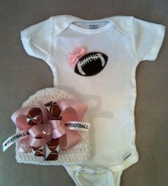 Pink football onesie set for baby girls with by rbsDesigns on Etsy, $38.00