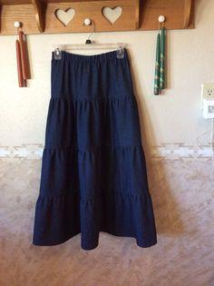 02/19...long light weight, denim, elastic waist tiered skirt