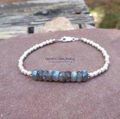 Blue Labradorite Bracelet Sterling Silver Stacking Bracelet Blue Flash Labradorite Boho Artisan Jewelry by PeacefulVibesJewelry on Etsy