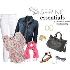"""Spring Essentials: White Jeans and Floral Top"" by of-simple-things on Polyvore"