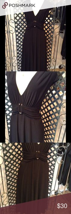"""Anne Klein Dress Beautiful black dress.  Gathered waist with gold clip.  Very elegant and classic. Jet black.  Deep neckline.  No zippers and no buttons, easy to wear.  Size 10, measures 19' bust, 16"""" waist, 49"""" length.  In excellent condition, ready to hit the dance floor.  Bundle and save, no holds and no trades.  Please use offer to negotiate. Anne Klein Dresses"""