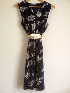 Vintage French Sleeveless Navy Summer Dress Fish by Tukvintage, £20.00