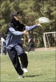 Women playing rugby in Iran.
