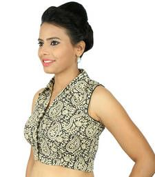 Buy Off white  and  black kalamkari embroidery  non padded readymade blouse readymade-blouse online