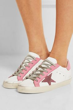 Golden Goose Deluxe Brand | Super Star distressed suede-paneled leather sneakers | NET-A-PORTER.COM