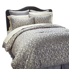 Your bedroom inspiration starts here: Highgate Manor Estrella 6-piece Comforter Set in platinum beige and silver-gray
