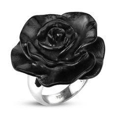 Bague femme acier à rose noire