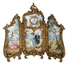 Ensemble - The Hanne Büktas Collection: 133 Outstanding Viennese Miniature Enamel Screen with Clock