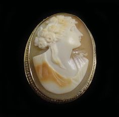 Vintage Cameo Brooch Pendant Solid Gold Womens Queen Cameo Hand Carved with All Original Pearls Bezel Set in 10k Gold Excellent Condition by americanjewelryco, $250.00