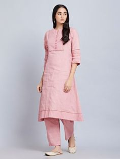 Pink Cotton Striped Kurta with Pants- Set of 2 Simple Kurti Designs, Stylish Dress Designs, Kurta Designs Women, Blouse Designs, Kurti Embroidery Design, Embroidery Dress, Fancy Kurti, Choli Dress, Kurta Style