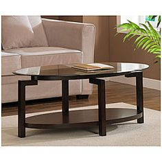Tanner Espresso Coffee Table with Shelf - Overstock™ Shopping - Great Deals on Coffee, Sofa & End Tables Espresso Coffee Table, Coffee Table With Shelf, Oval Coffee Tables, Coffe Table, Low Shelves, Storage Shelves, Sofa End Tables, A Table, Looks Cool