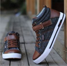 New Men Shoes Fashion Leather Shoe Casual High Top Shoes Denim Canvas Sneakers - Styling & Design - Men's Shoes Top Shoes, Men's Shoes, Shoe Boots, Men Boots, Ankle Boots, Shoes Sneakers, Mens Fashion Shoes, Sneakers Fashion, Denim Fashion