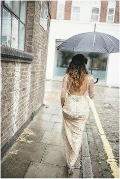 Rainy London Wedding!   6 St Chads Wedding London by Kat Hill   Bespoke Gold Dress by Wilden Bride