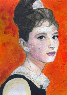 Audrey Hepburn Unique Portrait Painting ART PRINT 16X12