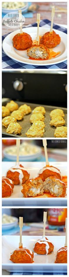 Blue Cheese Stuffed Buffalo Chicken Meatballs!!!! Made in a crockpot. BEST APPETIZER EVER!! - The Cookie Rookie