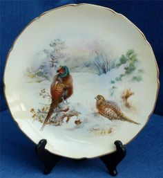 Royal Doulton Hand Painted Plate Pheasants in the Snow by J.A Bailey 1924