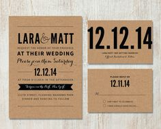 Rustic Wedding Invitation and RSVP, DIY Kraft Wedding, Vintage, Bold, Typographic Wedding, Printable Invitation, Save-The-Date, RSVP & Menu