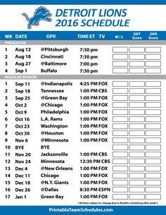 Detroit Lions 2016 Football Schedule. Print Schedule Here -  http://printableteamschedules.com/NFL/detroitlionsschedule.php