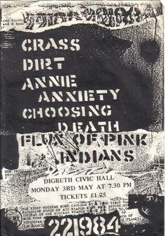 Crass, Dirt, Annie Anxiety, Choosing Death, Flux of Pink Indians @ Digbeth. 1982